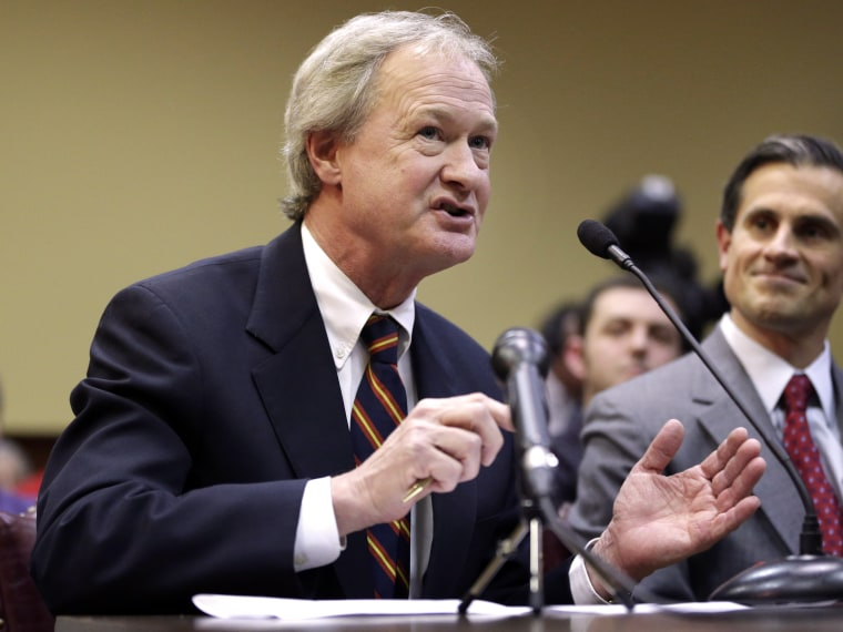 Rhode Island Gov. Lincoln Chafee testifies in support of same-sex marriage before the House Judiciary Committee, at the Statehouse, in Providence, R.I., Tuesday, Jan. 15, 2013. R.I. House Speaker Gordon Fox has called a vote on gay marriage legislation...
