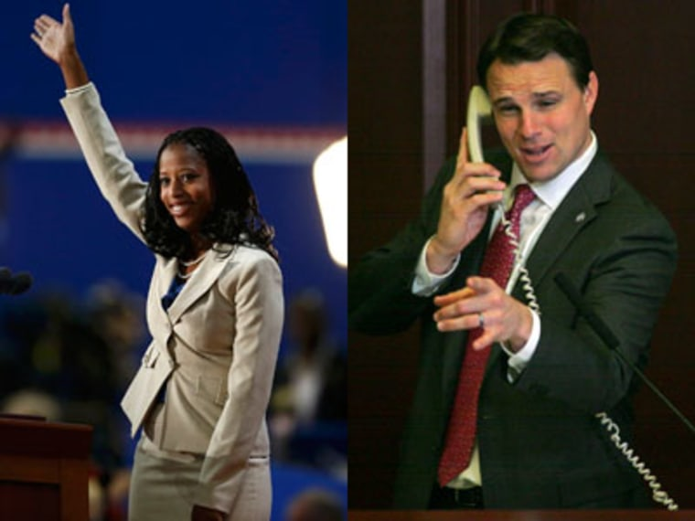 """CPAC rising stars, Saratoga Springs, Utah, Mayor Mia Love (R) pictured at the Republican National Convention in 2012, and Florida state House Speaker Will Weatherford (L) performing a video parody of Carly Rae Jepsen's """"Call Me Maybe."""" (Photo by Eric..."""