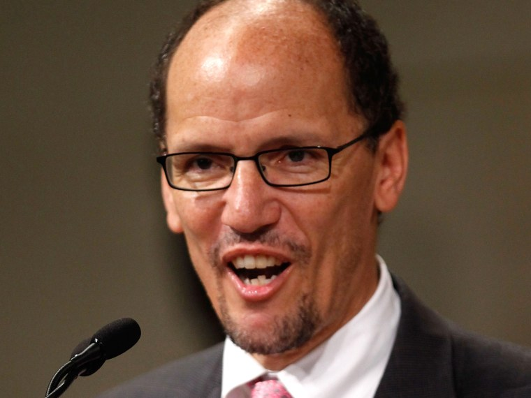 File Photo: Assistant Attorney General for the Civil Rights Division Thomas Perez addresses the Department of Justice's commemoration of the 20th Anniversary of the American with Disabilities Act on July 23, 2010 in Washington, DC.  (Photo by Chip...