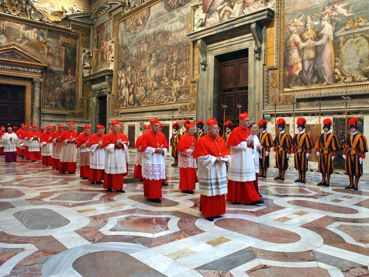 This file picture taken on April 18, 2005 shows cardinals entering the Sistine Chapel at the Vatican before the start of the conclave. The conclave triggered by the historic resignation of Benedict XVI will start on March 12, 2013, with the eyes of the...