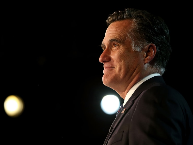 File Photo: Republican presidential candidate, Mitt Romney, speaks at the podium as he concedes the presidency during Mitt Romney's campaign election night event at the Boston Convention & Exhibition Center on November 7, 2012 in Boston,...