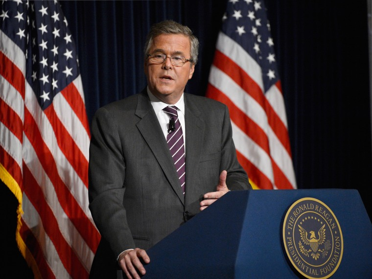 """Former Florida Governor Jeb Bush speaks at the Reagan Library after autographing his new book """"Immigration Wars: Forging an American Solution"""" on March 8, 2013 in Simi Valley, California. Bush discussed the leadership and policy changes he believes are..."""