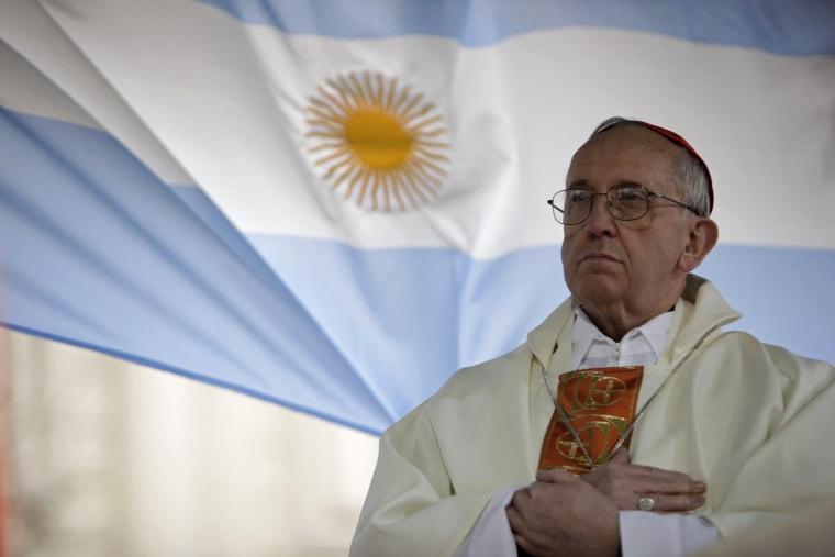 Argentina's Cardinal Jorge Bergoglio gives a mass outside the San Cayetano church in Buenos Aires, Friday Aug.7, 2009. (AP Photo/Natacha Pisarenko)