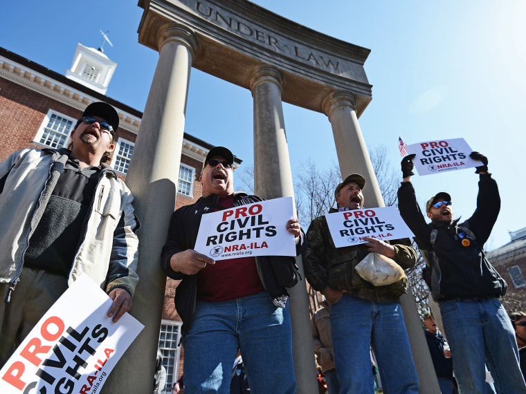 Second Amendment supporters rally against stricter gun control laws at the Maryland State House on March 5, 2013 in Annapolis, Maryland. If the Maryland Firearm Safety Act legislation bill is passed, it would require a license to purchase a handgun,...