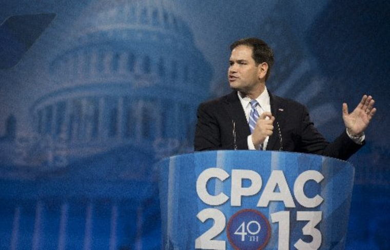 Sen. Marco Rubio, R-Fla., speaks at the 40th annual Conservative Political Action Conference in National Harbor, Md.,  Thursday, March 14, 2013.  (AP Photo/Manuel Balce Ceneta)