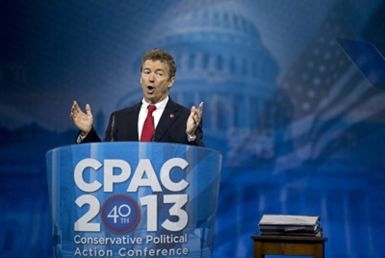 Sen. Rand Paul speaks at the 40th annual Conservative Political Action Conference in National Harbor, Md., Thursday, March 14, 2013.  (Photo by Manuel Balce Ceneta/AP)
