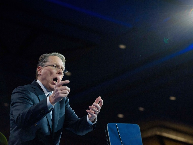 National Rifle Association (NRA) CEO Wayne LaPierre speaks at the Conservative Political Action Conference (CPAC) in National Harbor, Maryland, on March 15, 2013.  (Photo by Nicholas Kamm/AFP/Getty Images)