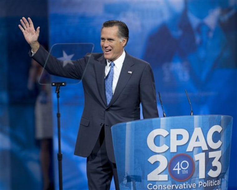 Mitt Romney implicitly praised the CPAC-snubbed Chris Christie in his speech today. (AP Photo/Manuel Balce Ceneta)