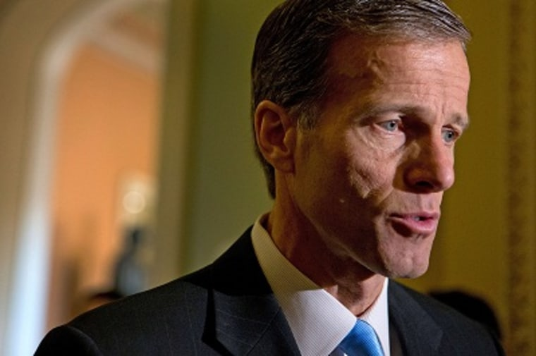 """Sen. John Thune speaks negotiations on the \""""fiscal cliff, \"""" at the Capitol in Washington, Sunday, Dec. 30, 2012. (Photo by J. Scott Applewhite/AP)"""
