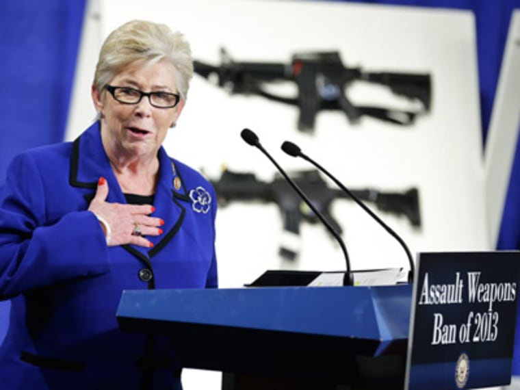 "Rep. Carolyn McCarthy speaks during a news conference introducing legislation on assault weapons and high-capacity ammunition clips in Washington, D.C. on Jan. 24, 2013. This June, McCarthy announced she was diagnosed with ""treatable"" lung cancer. ..."