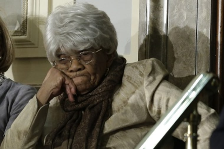 Desiline Victor, 102, awaits President Barack Obama's State of the Union address during a joint session of Congress on Capitol Hill in Washington, Feb. 12, 2013. (Photo by Pablo Martinez Monsivais/AP)