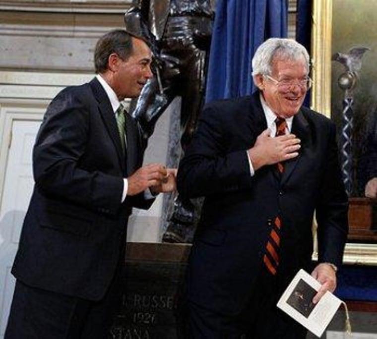 House Speaker John Boehner (R) and former House Speaker Dennis Hastert (R)