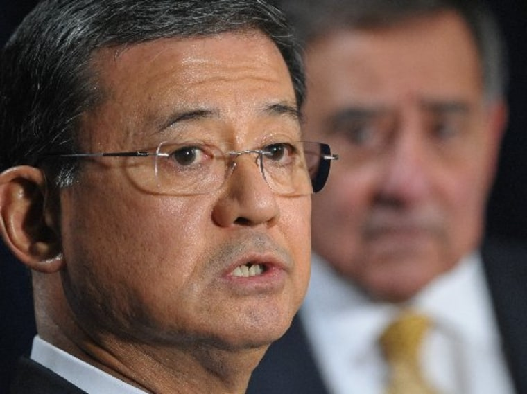 Veterans Affairs Secretary Eric Shinseki speaks to the media following a meeting with US Defense Secretary Leon Panetta (R) on February 5, 2013, at the Department of Veterans Affairs in Washington, DC. The two met to discuss increasing colloaboration...