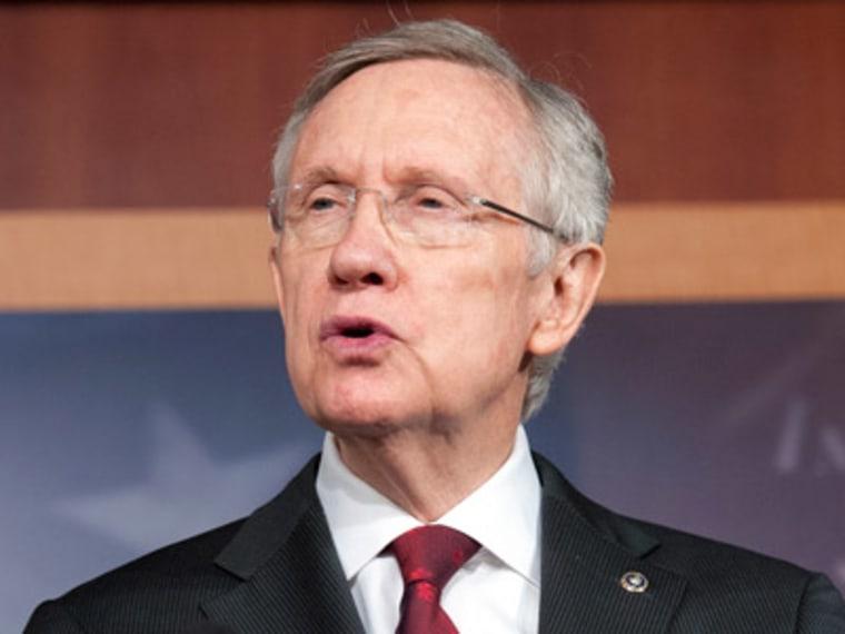 Senate Majority Leader Harry Reid, D-Nev., speaks with reporters on Capitol Hill in Washington, D.C. March 14, 2013. (Photo by Cliff Owen/AP)