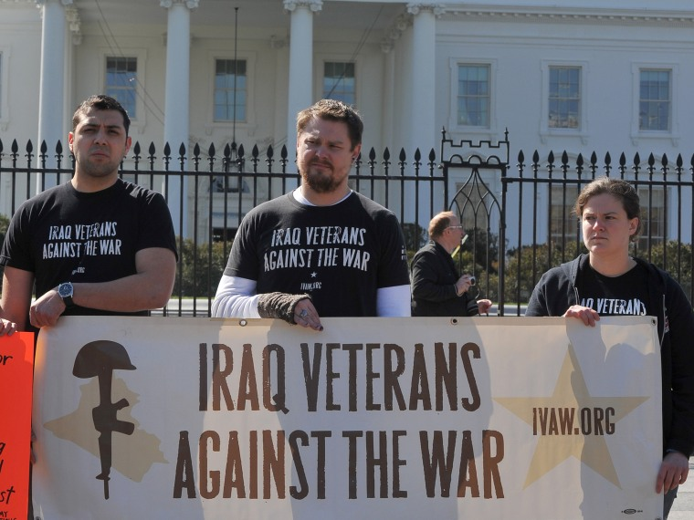 """Iraq War Veterans Aganst the War, protest outside the White House in Washington DC on March 19, 2013, marking the 10th anniversary of the Iraq war. The organizers launched the \""""right to heal\"""" campaign, addressing the human rights violations in Iraq...."""