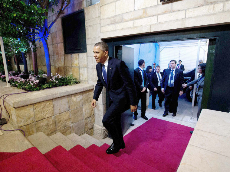 U.S. President Barack Obama arrives at the residence of Israeli Prime Minister Benjamin Netanyahu and his wife Sara for a meeting and joint news conference in Jerusalem, March 20, 2013. Making his first official visit to Israel, U.S. President Barack...