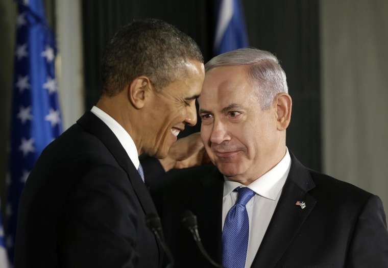 President Barack Obama and Israeli Prime Minister Benjamin Netanyahu talk during their joint news conference in Jerusalem, Israel,Wednesday, March 20, 2013, (Photo by Pablo Martinez Monsivais/AP)
