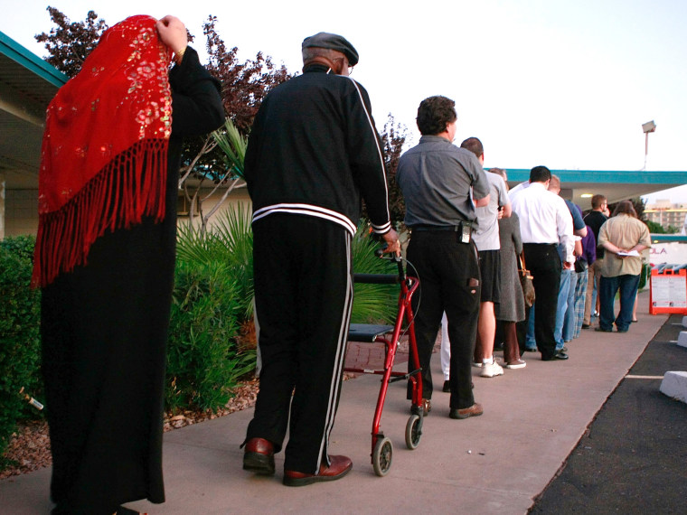 File Photo: People line up to vote at the Albright United Methodist Church November 4, 2008 in Phoenix, Arizona. (Photo by Mark Wilson/Getty Images, File)