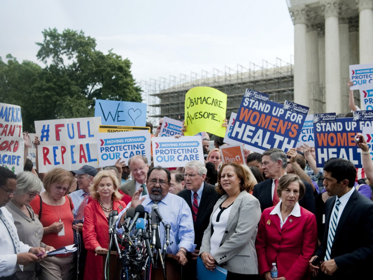 File Photo: Rep. Lynn Woolsey, D-Calif.; Rep. Carolyn Maloney, D-N.Y.; Rep. Raul Grijalva, D-Ariz.; Rep. Laura Richardson, D-Calif.; and Rep. Jan Schakowsky, D-Ill. speak to the press after the Supreme Court decided to uphold the Affordable Care Act. ...
