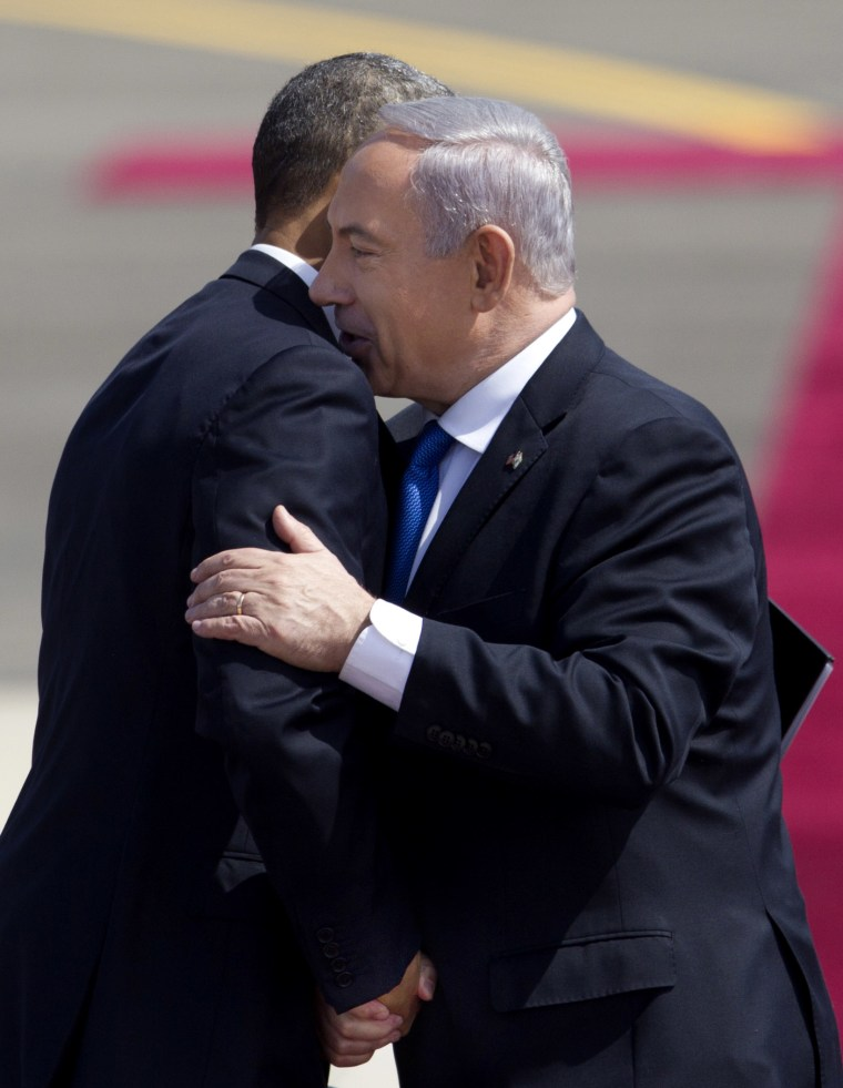 US President Barack Obama, left, and Israel's Prime Minister Benjamin Netanyahu shake hands after Netanyahu's speech during a welcoming ceremony upon Obama's arrival at Ben Gurion airport near Tel Aviv, Israel, Wednesday, March 20, 2013. President...