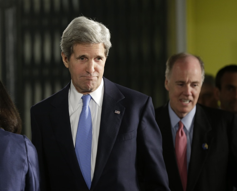 Secretary of State John Kerry, left, followed by National Security Advisor Tom Donilon, arrives for the joint news conference between President Barack Obama and Israeli Prime Minister Benjamin Netanyahu in Jerusalem, Israel,Wednesday, March 20, 2013. ...