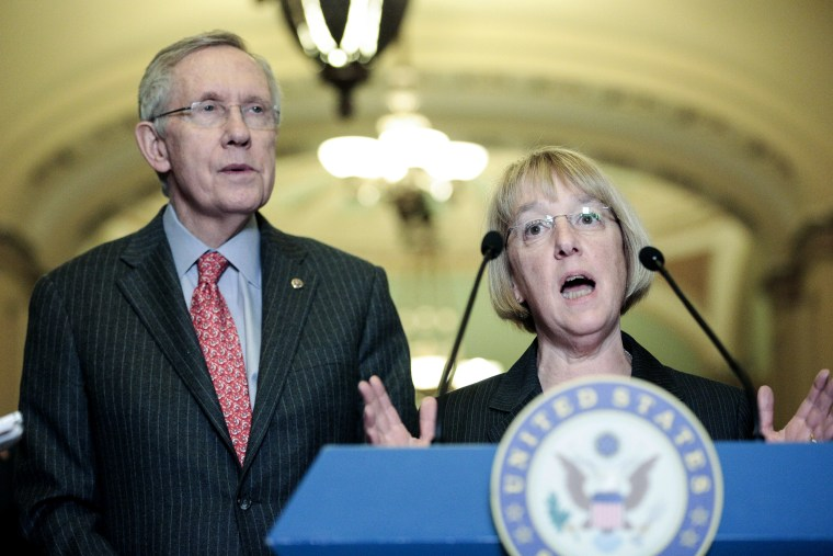 Sen. Patty Murray, D-Wash., speaks to the press with Senate Majority Leader Harry Reid, D-Nev., after the weekly Senate Democrats policy luncheon on March 19, 2013 in Washington, DC. The Senate is expected to pass a revised continuing resolution and...