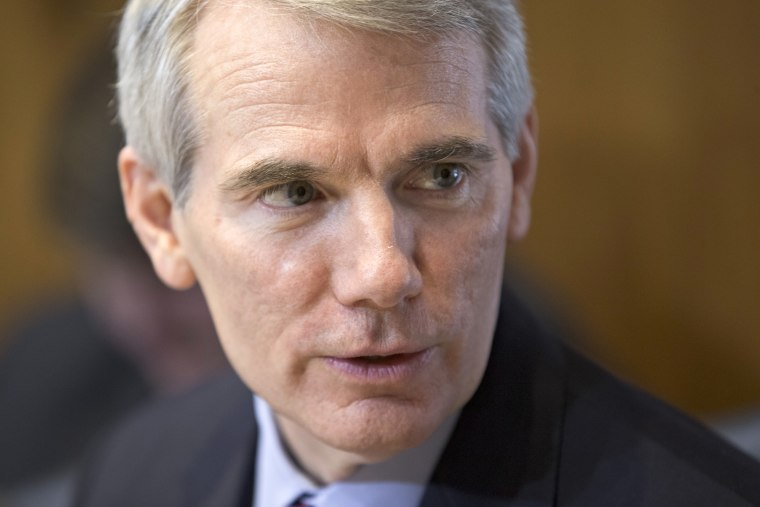 Senate Energy Committee member Sen. Rob Portman, R-Ohio, sits in on the committee's discussion on the nomination of Sally Jewell to be secretary of the Interior, Thursday, March 21, 2013, on Capitol Hill in Washington. Last week Portman announced he is...