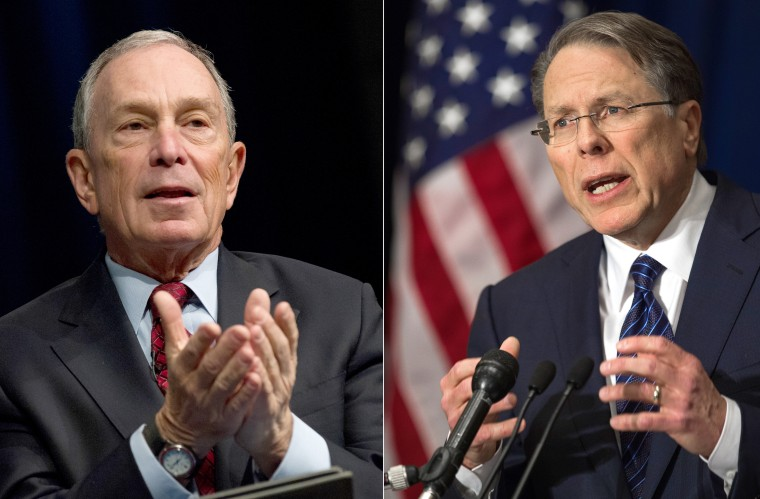 This March 24, 2013 combination of file images shows New York City Mayor Michael Bloomberg(L) and National Rifle Association head Wayne LaPierre. (AFP PHOTO / FILESFILES/AFP/Getty Images)