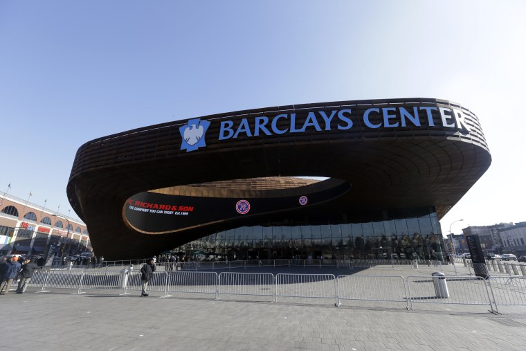 The Front of the Barclays center is shown Thursday, Feb. 14, 2013, in New York. (AP Photo/Frank Franklin II)