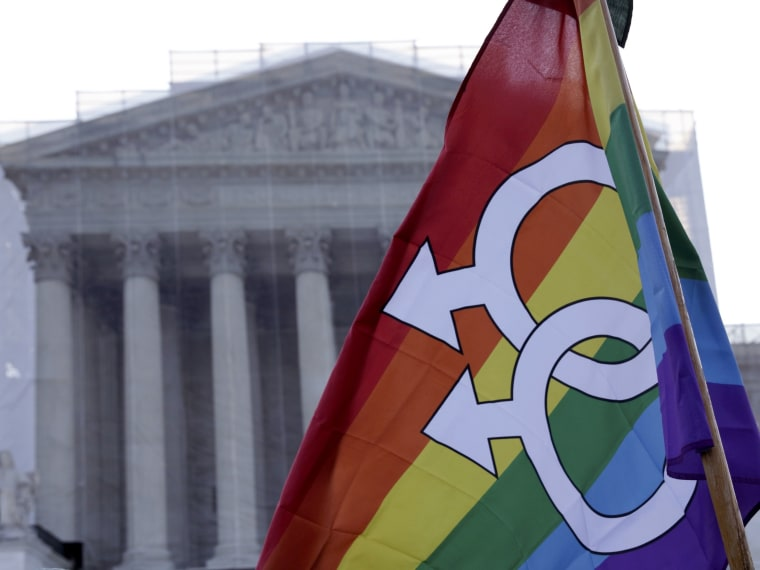 A protester raises a flag outside of the U.S. Supreme Court in Washington, March 26, 2013. (Photo by  Joshua Roberts/Reuters)