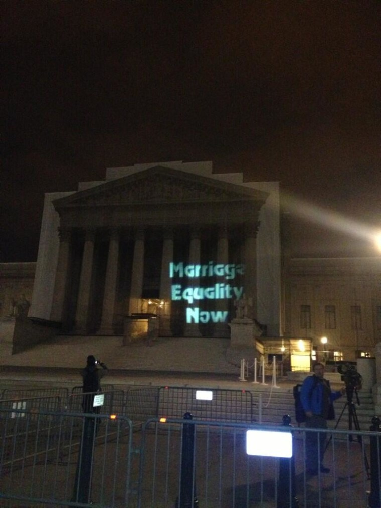 Outside the Supreme Court building Tuesday night. (Twitter: @rachnyctalk)