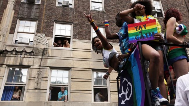 Revelers celebrate during the Gay Pride parade on June 26, 2011 in New York City. (Photo by Mario Tama/Getty Images)