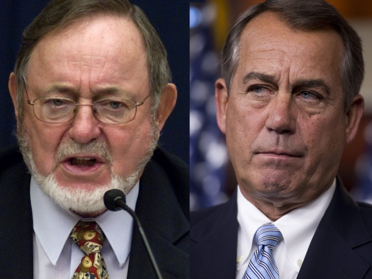 This composite shows images: (L-R) File Photo: Rep. Don Young, R-Alaska, is seen during the House Transportation and Infrastructure Subcommittee on June 24, 2009. (Photo by Scott J. Ferrell/Congressional Quarterly/Getty Images, File) Speaker John...