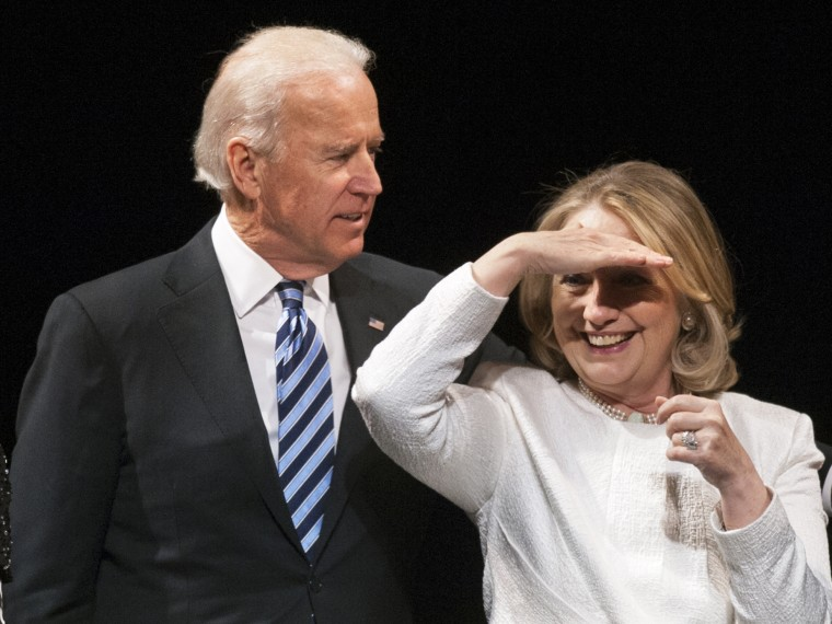 Vice President Joe Biden and former Secretary of State Hillary Rodham Clinton appear onstage at the Vital Voices Global Partnership 2013 Global Leadership Awards gala at the Kennedy Center for the Performing Arts in Washington, Tuesday, April 2, 2013. ...