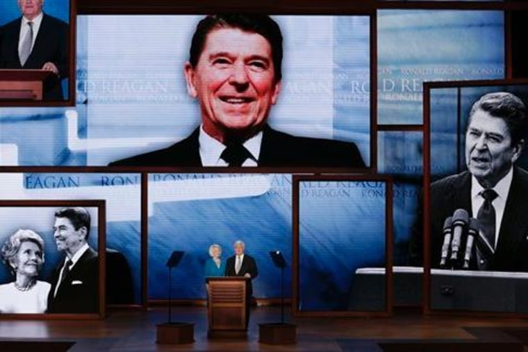 Former House Speaker Newt Gingrich and his wife Callista deliver a tribute to President Ronald Reagan during the Republican National Convention in Tampa, Fla., on Thursday, Aug. 30, 2012. (AP Photo/J. Scott Applewhite)
