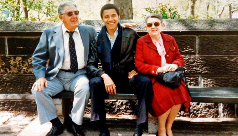 Barack Obama with his grandparents, Stanley Armour Dunham and Madelyn Lee Payne Dunham in New York City, during a visit with Obama, who was a student at Columbia University.