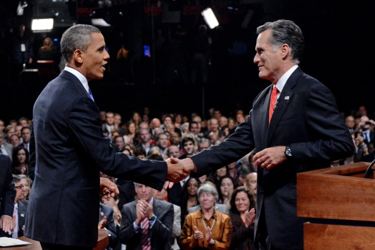 President Barack Obama shakes hands with Republican presidential nominee Mitt Romney after the first presidential debate at the University of Denver, Wednesday, Oct. 3, 2012, in Denver.