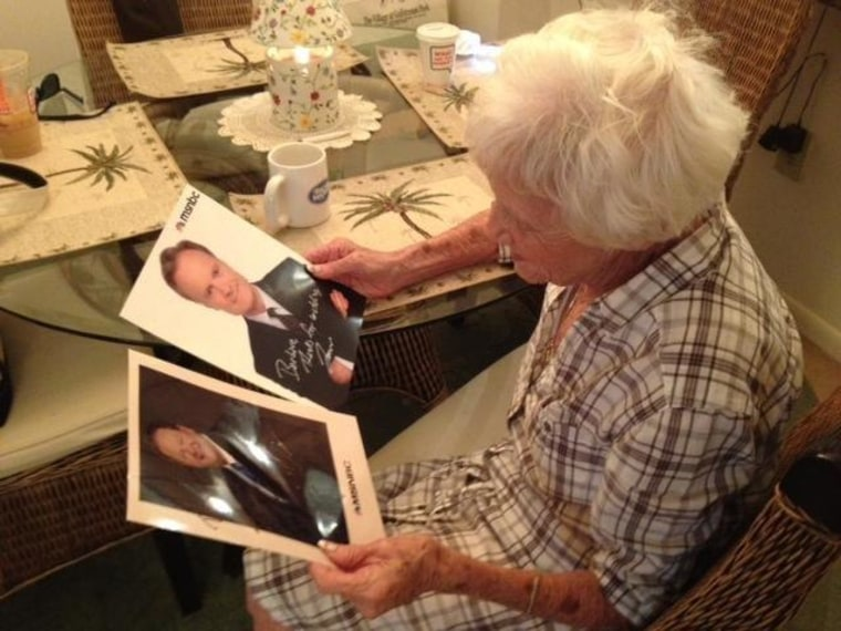 Grandmother, 89, sheds tears of joy at receiving autographed photos of Lawrence O'Donnell, Ed Schultz