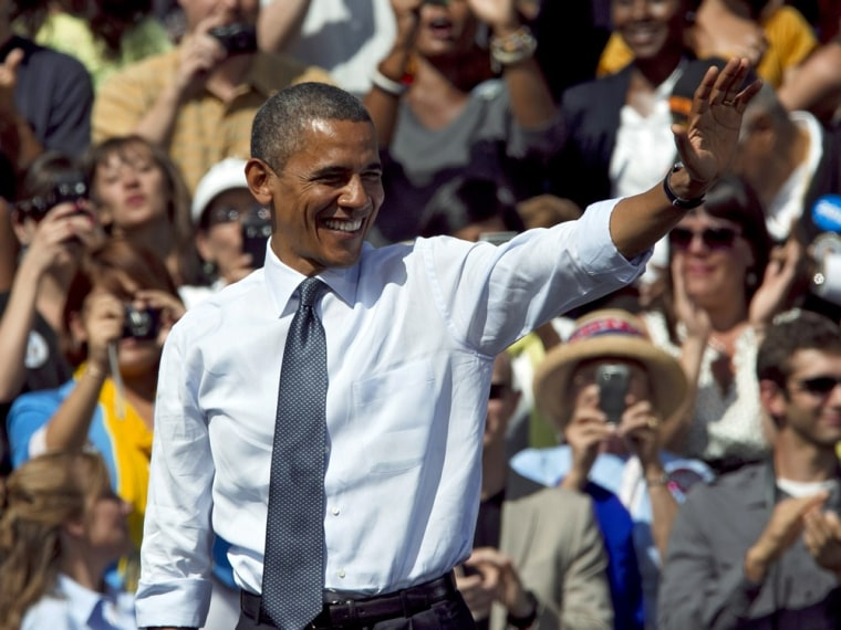 President Barack Obama waves after speaking at a campaign rally in Golden, Colo., Thursday, Sept. 13, 2012.