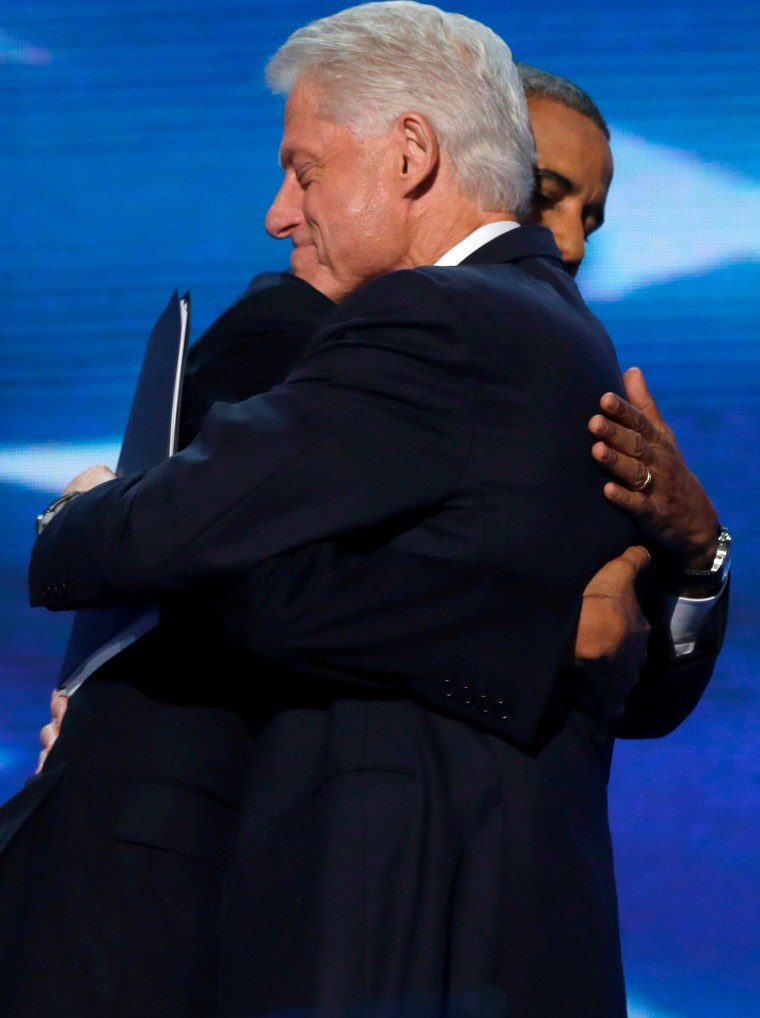 President Barack Obama hugs Former President Bill Clinton during the Democratic National Convention in Charlotte, N.C., on Wednesday, Sept. 5, 2012.