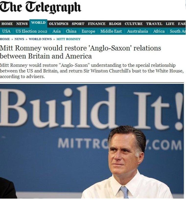 Romney advisor's 'Anglo-Saxon' remark 'stunningly offensive'
