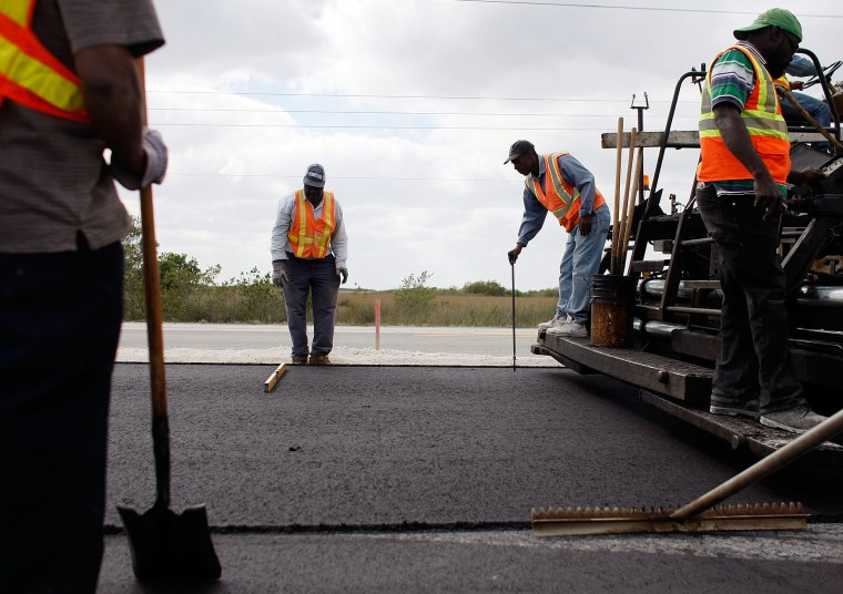 A road-widening project in Florida City, Florida, funded by the stimulus bill.