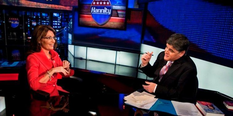 """This photo provided by Fox News Channel shows Sean Hannity interviewing former Alaska Gov. Sarah Palin in New York, Wednesday, Nov. 18, 2009. The interview will be broadcast Wednesday night on the Fox news Channel's """"Hannity."""""""