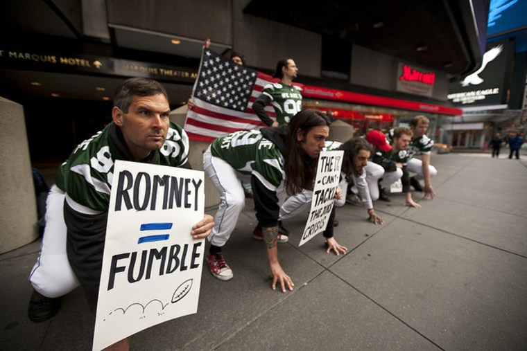 'NY 99ers' form defensive line to protest Romney's economic playbook