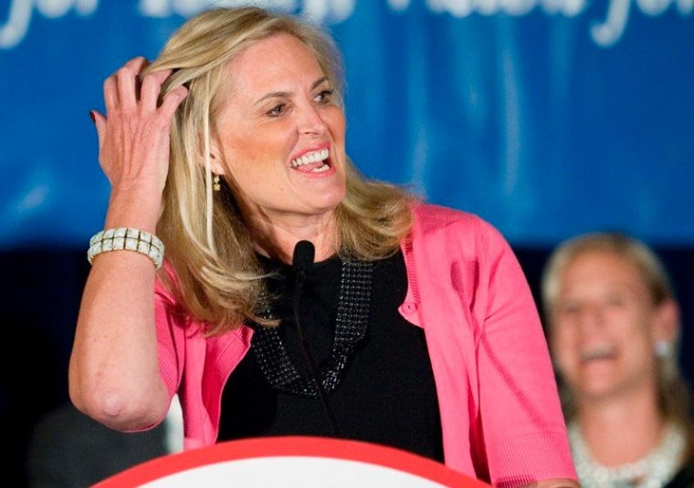 Ann Romney, wife of Republican presidential candidate, former Massachusetts Gov. Mitt Romney, speaks at the Connecuticut GOP Prescott Bush Awards dinner in Stamford, Conn., on the eve of Connecticut's primary Monday, April 23, 2012. Ann Romney told the...