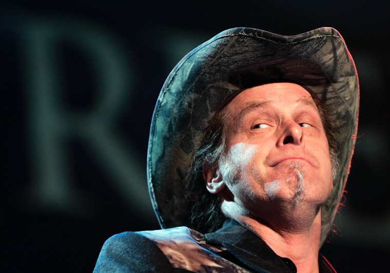 In this May 19, 2006 file photo, Ted Nugent performs during the opening ceremony of the National Rifle Association annual convention in Milwaukee.