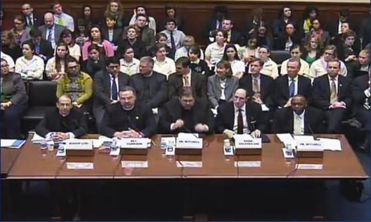 House Oversight Committee Chairman Rep. Darrell Issa's all-male panel at a hearing on the contraception mandate. (February 16th, 2012)