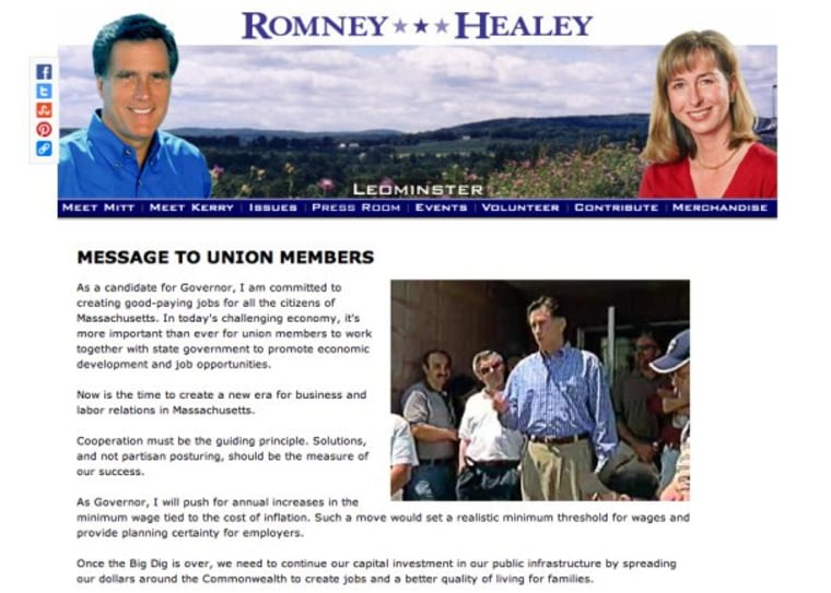 Romney pro-union '02 campaign materials surface on day he bashes unions