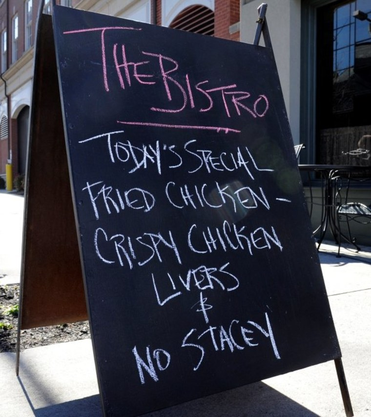 Controversial state Sen. Stacey Campfield is referenced on the list of specials at Bistro at the Bijou Monday, Jan. 30, 2012 in Knoxville, Tenn. Owner Martha Boggs refused to serve Campfield during brunch on Sunday because of his recent remarks about...