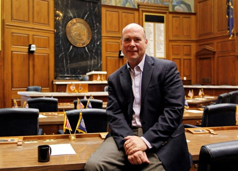 Speaker of the House Brian Bosma, R-Indianapolis, poses in the House chamber at the Statehouse in Indianapolis, Tuesday, Jan. 3, 2012. Bosma is leading the effort to pass right-to-work legislation in the upcoming session. Gov. Mitch Daniels has been...